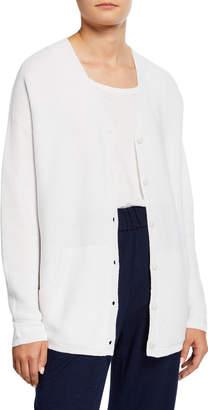 Eileen Fisher Organic Cotton/Hemp V-Neck Button-Front Cardigan