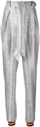 Talbot Runhof Metallic Tapered Trousers