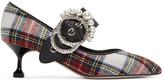 Miu Miu Multicolor Pearl Tartan Heels