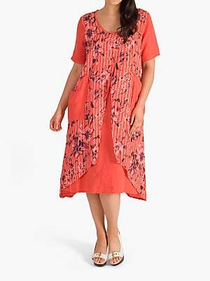 chesca Floral Wrap Front Linen Dress, Coral