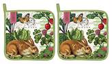 Michel Design Works Garden Bunny Cotton Potholder, Multicolor. Set of 2 Holders. Each holder is 9 Inches Square.