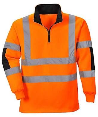 Workwear World WW238 Work Wear Hi Vis Quarter Zip Neck Rugby Sweatshirt Top (S, )