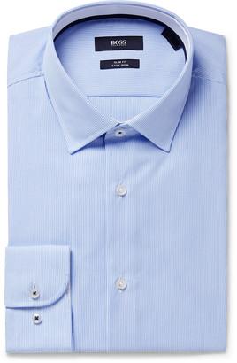 HUGO BOSS Light-Blue Joam Striped Cotton Shirt