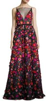 Lela Rose Floral-Embroidered Illusion Ball Gown, Black Pattern