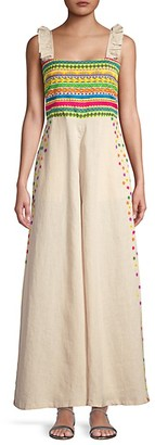 All Things Mochi Elena Embroidered Wide-Leg Jumpsuit