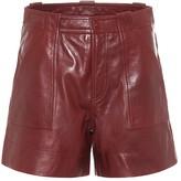 Ganni High-rise leather shorts