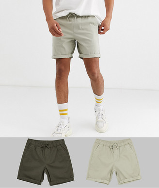 ASOS DESIGN 2 pack slim chino shorts with elastic waist in beige & khaki save