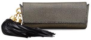 Zac Posen Claudette Textured Tassel Clutch, Gold/Black