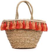 Flora Bella Florabella Tassel Trim Straw Tote Bag
