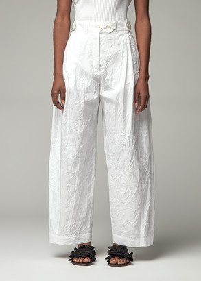 Lanvin Women's Crinkle Cotton Carrot Pant in White Size 38