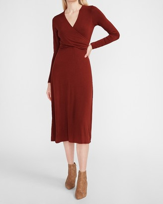 Express Long Sleeve Cross Front Knit Midi Dress