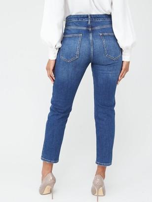 Very Girlfriend High WaistStraight Leg Jeans - Dark Wash
