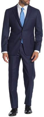 Hickey Freeman Navy Stripe Two Button Notch Lapel Wool Classic Fit Suit