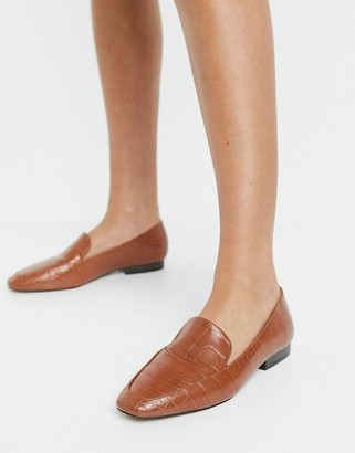 ASOS DESIGN Mindy flat loafers in tan croc