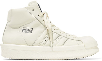 Rick Owens X Adidas Rubber-paneled Leather High-top Sneakers