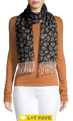 Lord & Taylor Leopard-Print Fringe Woven Cashmere Scarf
