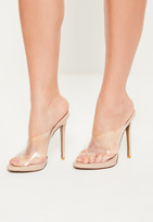 Missguided Nude Clear Cross Strap Mules