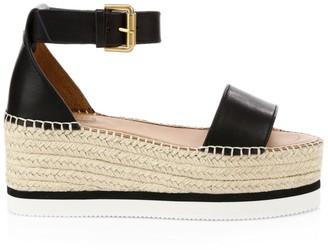 See by Chloe Glyn Leather Platform Espadrille Wedge Sandals
