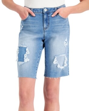 INC International Concepts Inc Patchwork Bermuda Jean Shorts, Created for Macy's