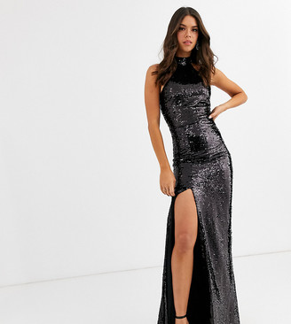 Club L London Tall sequin high neck trophy maxi dresss in black