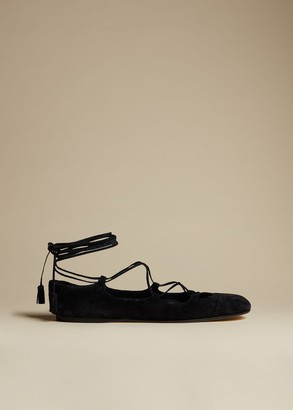 KHAITE The Monroe Flat in Black Suede