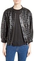 IRO Women's Cillian Leather Eyelet Bomber Jacket
