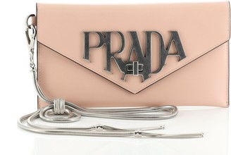 Prada Envelope Logo Clutch Spazzolato Leather