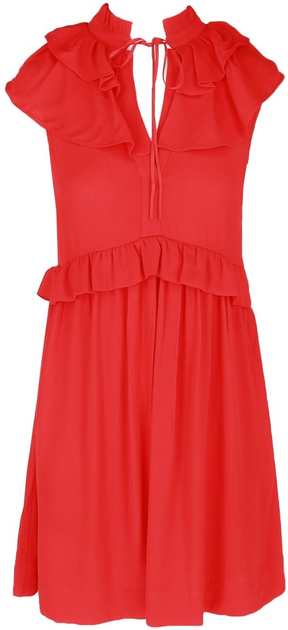 Maje Rutta Ruffle-Trim Crepe Dress