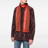Paul Smith Men's Burnt Orange Wool Scarf With Red Silk Stripe