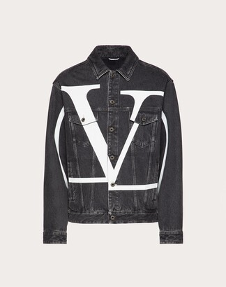 Valentino Vlogo Signature Denim Blouson Man Black/white Cotton 100% 44