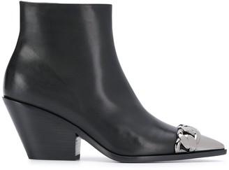 Casadei Silver-Tone Toe Cap Boots