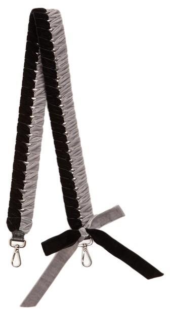 Fendi Strap You Whipstitched Ribbon Bag Strap - Womens - Black Grey