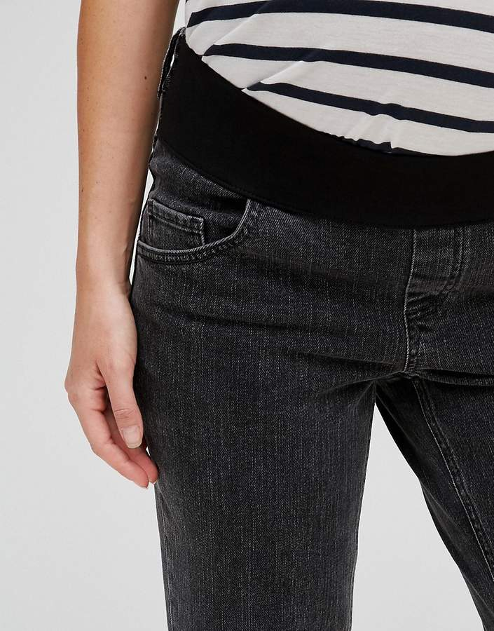 Asos Farleigh Slim Mom Jean in Lulu Washed Black with Busted Knee With Under The Bump Waistband