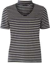 Dorothy Perkins Navy/Grey Stripe Choker T-Shirt
