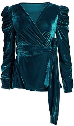 PatBO Puff-Sleeve Velvet Wrap Top