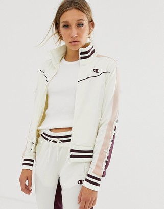 Champion retro tracksuit jacket with side stripes-Cream