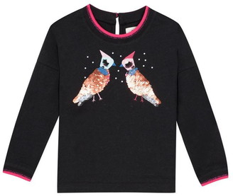 Catimini Sporty T-Shirt With Sequin Birds