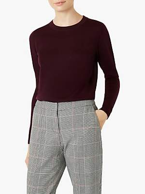 Hobbs Penny Knitted Merino Sweater, Mulberry