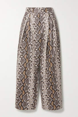 Utzon Cropped Pleated Snake-effect Leather Wide-leg Pants - Gray