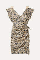 Etoile Isabel Marant Topaz Ruffled Printed Linen Mini Dress - Beige