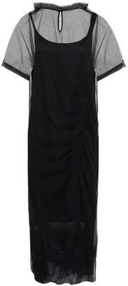 Brunello Cucinelli Bead-embellished Ruched Tulle Midi Dress