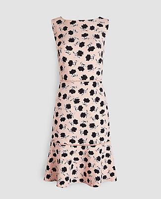 Ann Taylor Petite Floral Flounce Hem Sheath Dress