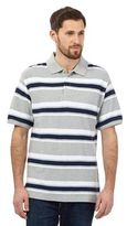 Maine New England Grey Block Striped Polo Shirt