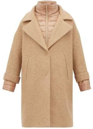 Herno Gilet-insert Boucle Wool-blend Coat - Womens - Camel