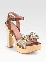 RED Valentino Leather & Glitter Bow Wooden Platform Sandals