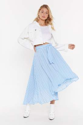 Nasty Gal Womens Linen Stripe Asymmetric Midi Skirt - Blue - S, Blue