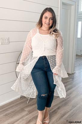 Forever 21 Plus Size Clip Dot Lace Kimono