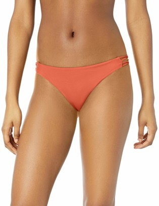 RVCA Junior's Solid Medium Loop Side Bikini Bottom