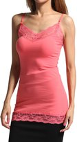 TheMogan Women's Lace Trim Spaghetti Strap Cami Tank Top S~3XL