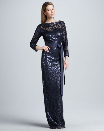 Tadashi Shoji Belted Sequin-Lace Gown